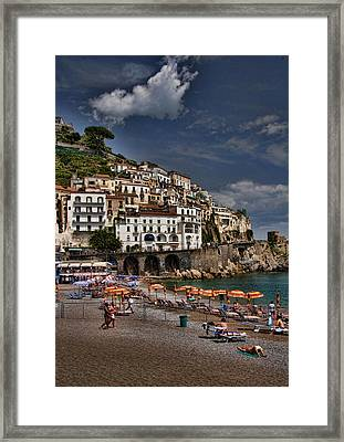 Beach Scene In Amalfi On The Amalfi Coast In Italy Framed Print