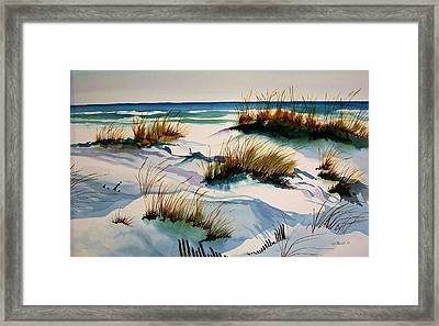 Framed Print featuring the painting Beach Shadows by Richard Willows