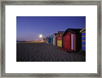 Beach Sheds At Dusk Framed Print by Nishan De Silva