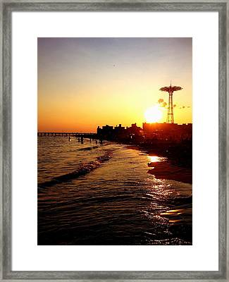 Beach Sunset - Coney Island - New York City Framed Print by Vivienne Gucwa