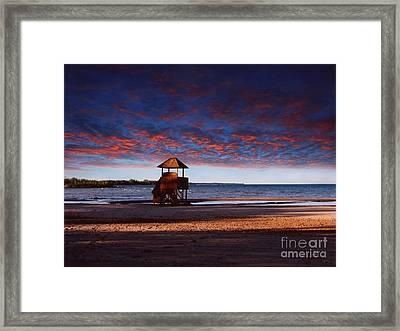 Beach Sunset Framed Print by Ms Judi