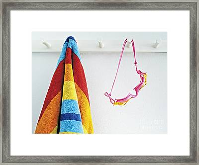 Beach Towel And Goggles Framed Print