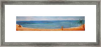 Beach Walk Framed Print by Monika Shepherdson