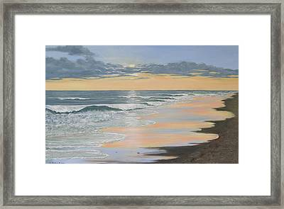 Framed Print featuring the painting Beach Walk Reflections by Kathleen McDermott