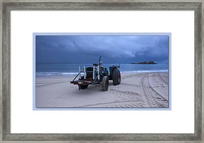 Framed Print featuring the digital art Beached Tractor by Kevin Chippindall