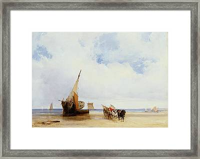 Beached Vessels And A Wagon Near Trouville Framed Print by Richard Parkes Bonington