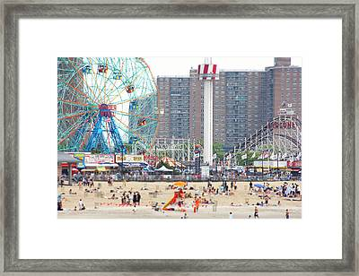 Beachgoers At Coney Island Framed Print by Ryan McVay