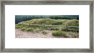 Beachside Fence Panorama Framed Print by Chris Hill
