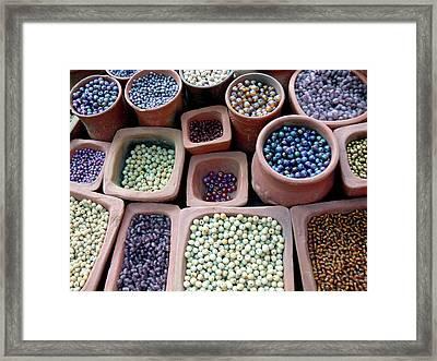 Beads Violet Framed Print by Martine Roch
