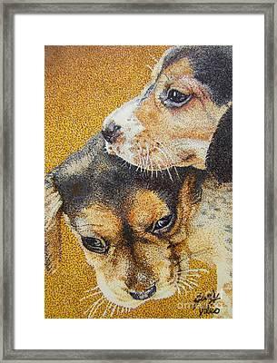 Beagle Puppies Framed Print by Judy Skaltsounis