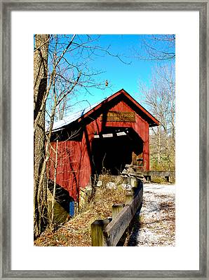 Bean Blossom Bridge Framed Print by Beverly Cazzell