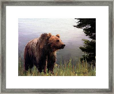 Framed Print featuring the painting Bear In The Woods by Wayne Pascall