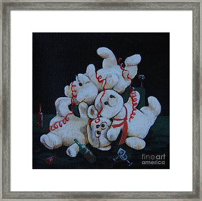 Framed Print featuring the painting Bear Party by Nareeta Martin