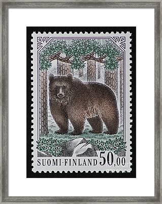 Bear Vintage Postage Stamp Print Framed Print