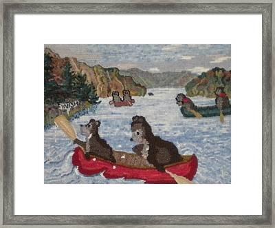 Bears In Canoes Framed Print by Brenda Ticehurst
