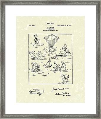Bears Wall Paper Design 1907 Patent Art Framed Print