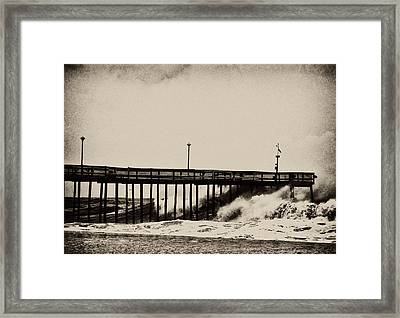Framed Print featuring the photograph Beatin' Pier by Kelly Reber