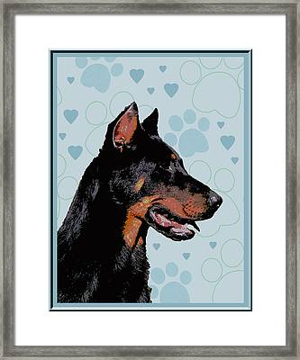 Beauceron Framed Print by One Rude Dawg Orcutt