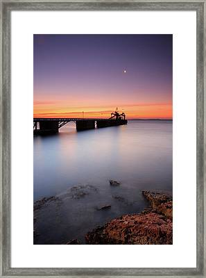 Beautiful Beach And Bridge Framed Print by Oscar Gonzalez