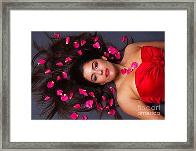 Beautiful Brunette With Rose Petals In Her Hair Framed Print