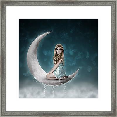 Framed Print featuring the photograph Beautiful Child Sitting On Crescent Moon by Ethiriel  Photography