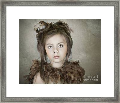 Framed Print featuring the photograph Beautiful Child With Bird by Ethiriel  Photography