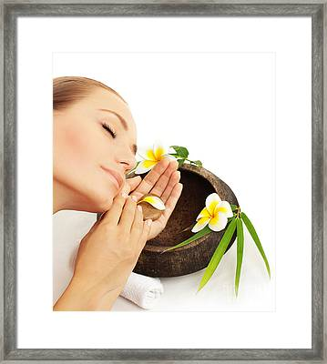 Beautiful Face With Flowers Framed Print by Anna Om
