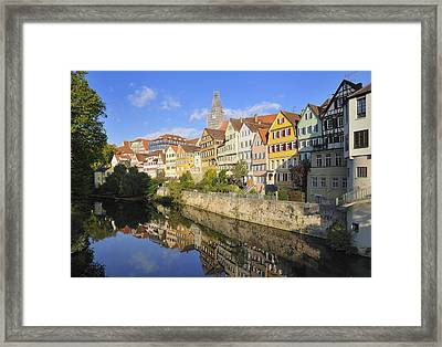 Beautiful German Town Tuebingen - Neckar Waterfront Framed Print
