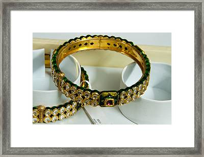 Beautiful Green And Purple Covered Gold Bangles With Semi-precious Stones Inlaid Framed Print by Ashish Agarwal