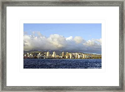 Framed Print featuring the photograph Beautiful Honolulu Skyline by MaryJane Armstrong