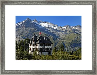 Beautiful Mansion In The Swiss Alps Framed Print