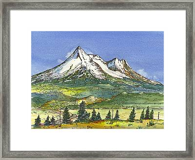 Framed Print featuring the painting Beautiful Mt Shasta  by Terry Banderas