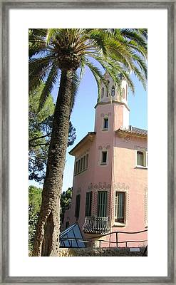 Beautiful Pink Architecture And Palm Tree At Park Guell Barcelona Spain Framed Print by John Shiron