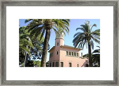 Beautiful Pink Architecture And Palm Tree II At Park Guell Barcelona Spain Framed Print by John Shiron