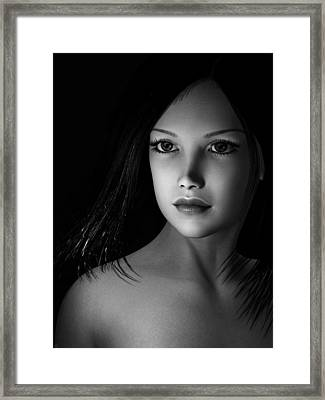 Beautiful Portrait - Black And White Framed Print by Maynard Ellis