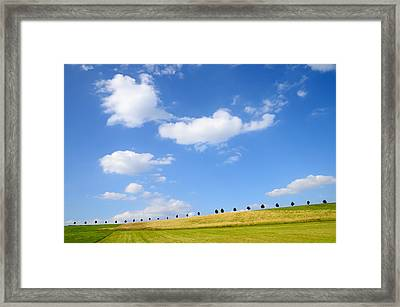 Beautiful Summer Landscape With Blue Sky And Clouds Framed Print