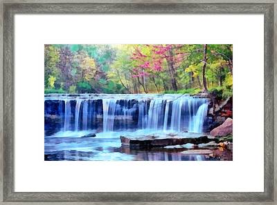 Framed Print featuring the digital art Beautiful Water Fall by Walter Colvin