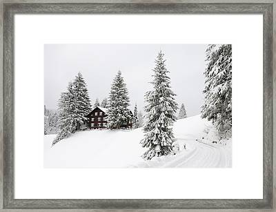 Beautiful Winter Landscape With Trees And House Framed Print