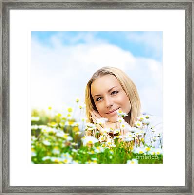 Beautiful Woman Enjoying Daisy Field And Blue Sky Framed Print by Anna Om