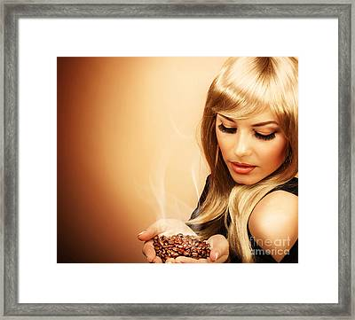 Beautiful Woman Holding Coffee Bean Framed Print by Anna Om