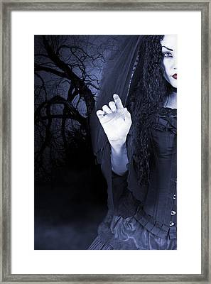 Framed Print featuring the photograph Beautiful Woman Outside At Night by Ethiriel  Photography