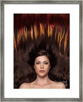 Beautiful Woman With Hair Extensions In A Shape Of Fire Framed Print by Oleksiy Maksymenko