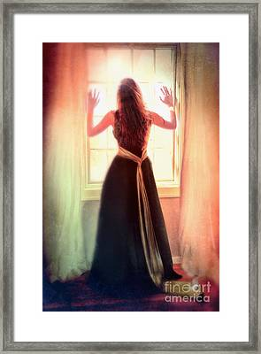 Beautiful Young Woman In Gown By Window Framed Print by Jill Battaglia