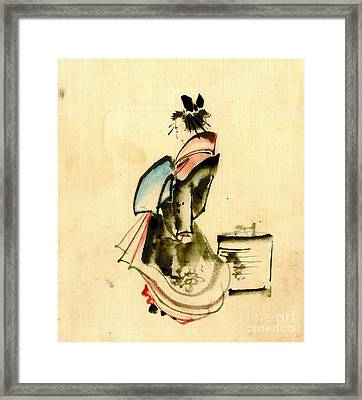Beauty And Paper Lantern 1840 Framed Print by Padre Art
