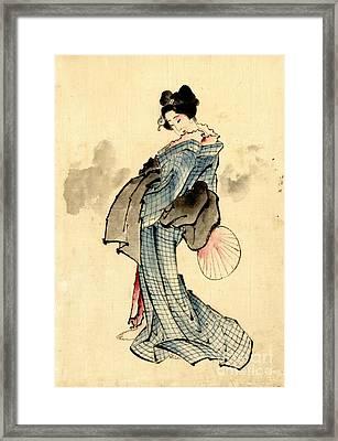 Beauty With Fan 1840 Framed Print by Padre Art