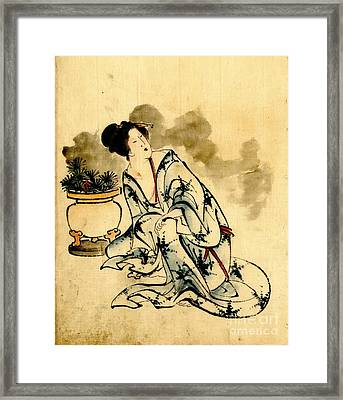 Beauty With Flowers 1840 Framed Print by Padre Art