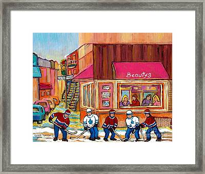 Beauty's Restaurant-montreal Street Scene Painting-hockey Game-hockeyart Framed Print by Carole Spandau
