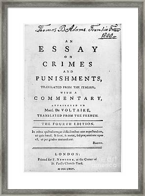 Beccaria: Title Page Framed Print by Granger