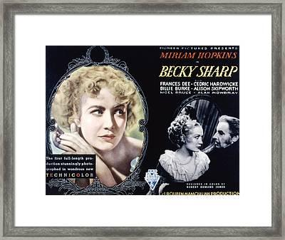 Becky Sharp, Miriam Hopkins, Cedric Framed Print by Everett