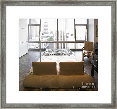 Bed And Chair In Bedroom Framed Print